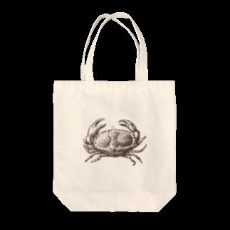 シュールな動物たちの絶妙なカニ Tote bags