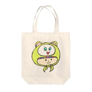 さるのかぶりもの少女 Tote bags