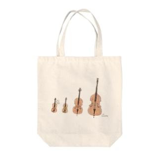 ヴァイオリンとビオラとチェロとコントラバスとうさぎ Tote bags