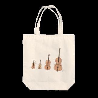 *momochy shop*のヴァイオリンとビオラとチェロとコントラバスとうさぎ トートバッグ