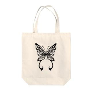 トライバル蝶 Tote bags