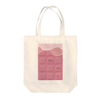 Ribbon-corsage*のピンクチョコレート Tote bags