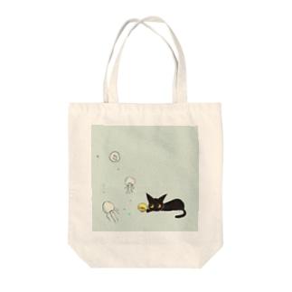 天使のひよこちゃんと黒猫ムーン くらげver. Tote bags
