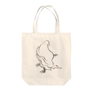 百鬼夜行絵巻 白い布をかぶった毛むくじゃらの妖怪【絵巻物・妖怪・かわいい】 Tote bags