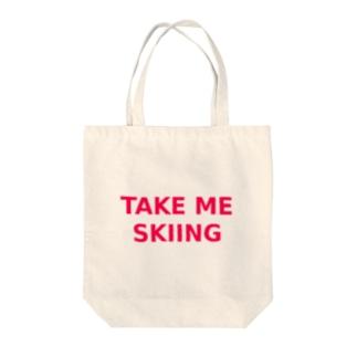 TAKE ME SKIING red Tote bags