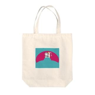 JUNSEN(純仙)扇形の中にいる猫A Tote bags