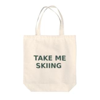 TAKE ME SKIING green Tote bags