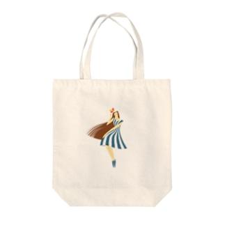 summer (ネイビーブルー) Tote bags