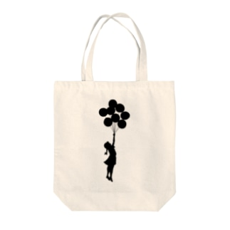 風船で浮く女の子バンクシー(banksy) Tote bags