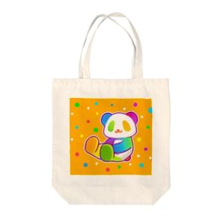 【虹色HAPPYレインボー】「にじパンダ」(オレンジ) トートバッグ