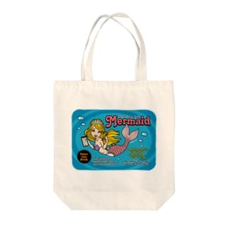 Sea Side Cafe Mermaid Tote bags