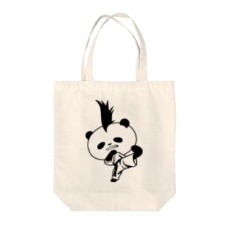 【かっこいいのに可愛いパンダ】モヒカンパンダの空手上段蹴り Tote bags