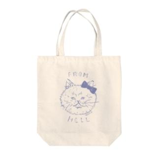ねこ from hell (purple) Tote bags