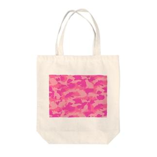 ニャンコカモ ピンク トートバッグ