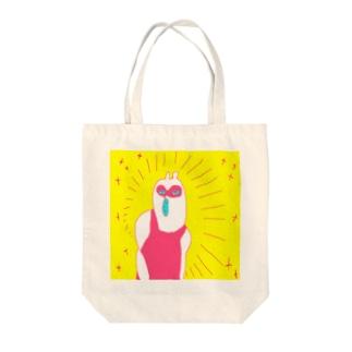 シャイニーたぬきガール Tote bags