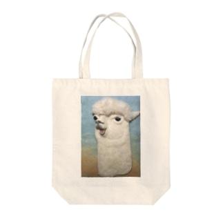 おしゃべりアルパカ Tote bags