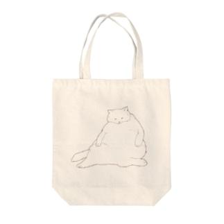 おデブ白猫の日向ぼっこ Tote bags