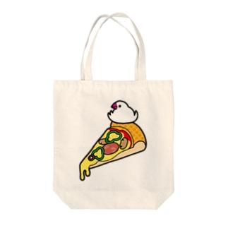 ピザで暖をとる文鳥 Tote bags