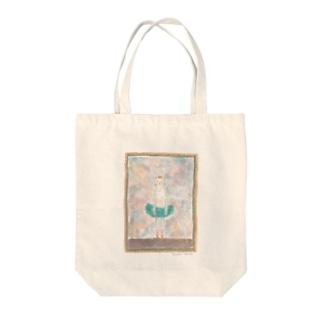 白ネコバレリーナ Tote bags
