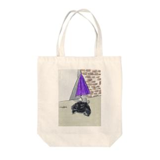 猫とカサとポリ袋 トートバッグ