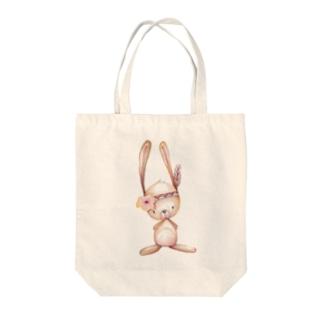 ボヘミアンラビット Tote bags