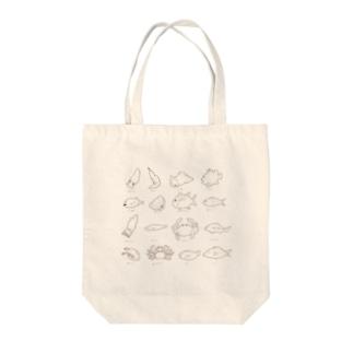 富山湾のなかまたち塗り絵 Tote bags