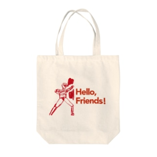 「Hello, Friends!」ヒーロー Tote bags