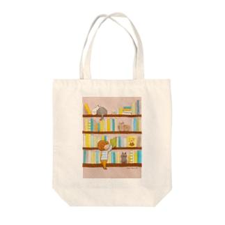 ぼくんちの本棚 Tote bags