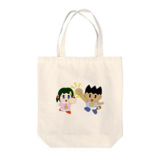 ミニわんぱ君としおりちゃん Tote bags