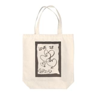 偽諺~壱~「ラヴイズグラインド」(黒縁) Tote bags