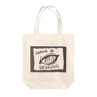 偽諺~参~「百聞は一見に如く」(黒縁) Tote bags