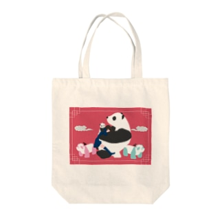 もふもふパンダ Tote bags