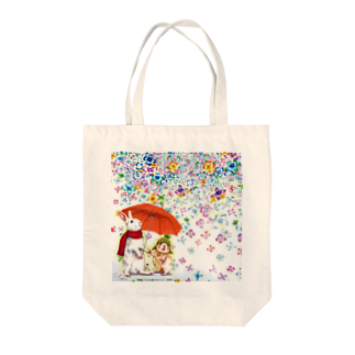 ボールペン画と可愛い動物の雨紫陽花 トートバッグ