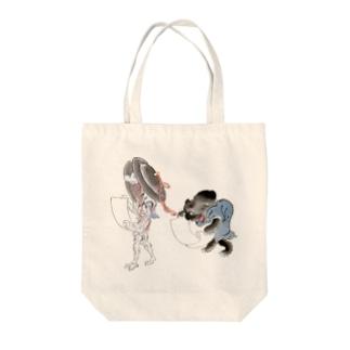 百鬼夜行絵巻 銅拍子の付喪神と黒い妖怪【絵巻物・妖怪・かわいい】 Tote bags