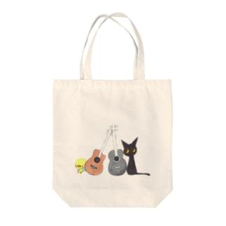 天使のひよこちゃんと黒猫ムーン アコースティック トートバッグ