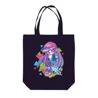 ネオンガール Tote bags
