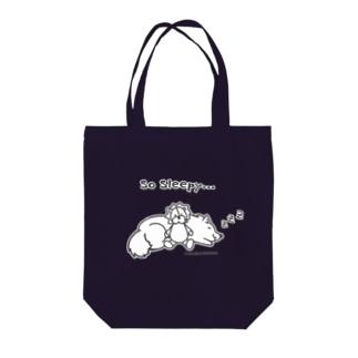 So Sleepy +piping 眠たいワンコ Tote bags