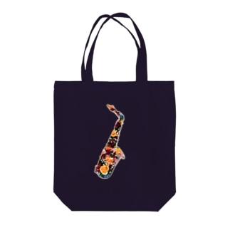 flower saxophone Tote bags