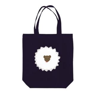 レースくま Tote bags