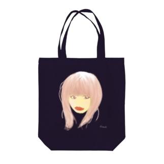 口紅が目立つ女 Tote bags