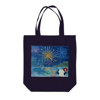RAAKOの花火を見るコアラとパンダ Tote bags