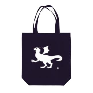 有翼の龍の布かばん・白 Tote bags