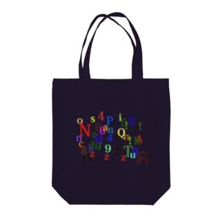アルファベットと数字の洪水 Tote bags