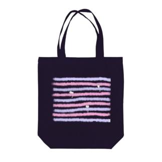 にゃーちゃ、茶畑ボーダー(夕闇) Tote bags