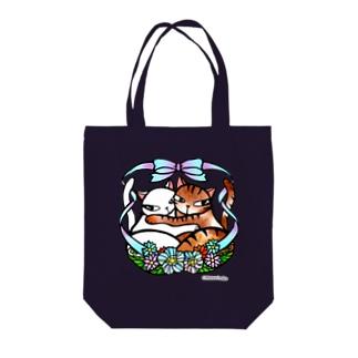 抱き合う猫♡ Tote bags