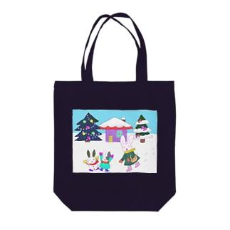 ウサギ親子の冬 Tote bags
