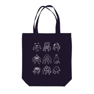 落書きさん、ヨーイドン(白抜き) Tote bags
