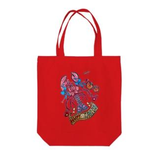 Happy Lobster Tote bags