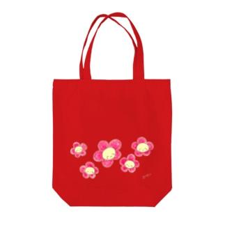 にこにこフラワー赤 Tote bags