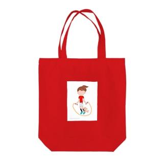 縄跳びアンとワンちゃん Tote bags